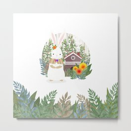 Bunny in the forest Metal Print