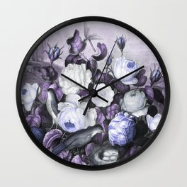 Periwinkle Roses Gray Birds Temple of Flora Wall Clock