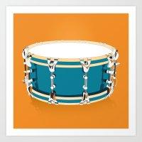 drum Art Prints featuring Drum - Orange by Ornaart