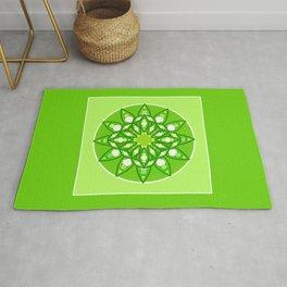 Mandala Pattern in Shades of Lime Green Rug