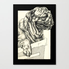 Geometric Black and White Animal portrait Pug Canvas Print