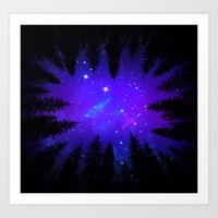 Magical Forest Galaxy Night Sky Art Print