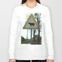 cows Long Sleeve T-shirts featuring Attention cows by Falko Follert Art-FF77