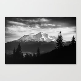 Mount Shasta Morning in Black and White Canvas Print