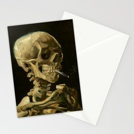 Skull with Burning Cigarette Stationery Cards