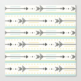 Boho gray yellow mint green polka dots arrows stripes Canvas Print