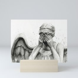 Weeping Angel Watercolor Painting Mini Art Print