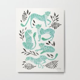 Cheetah Collection – Mint & Black Palette Metal Print