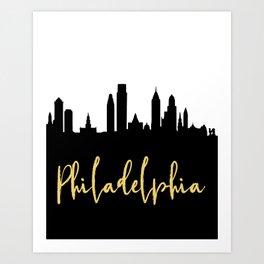PHILADELPHIA PENNSYLVANIA DESIGNER SILHOUETTE SKYLINE ART Art Print