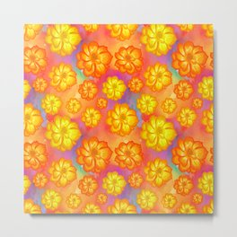 Marigols Floral Pattern Metal Print