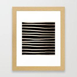 Simply Drawn Stripes White Gold Sands on Midnight Black Framed Art Print