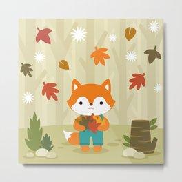 Fox in Autumn Forest Metal Print