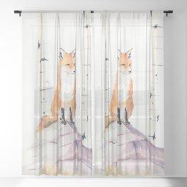 Fox and Birch Trees Sheer Curtain