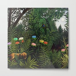 Jungle with Tiger and Hunters by Henri Rousseau Metal Print