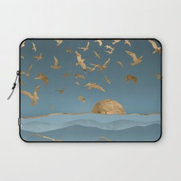 Blueprint and Gold Sea Scape Laptop Sleeve