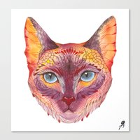 cat coquillette Canvas Prints featuring cat by Ola Liola