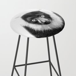 Black and white lemur animal portrait Bar Stool