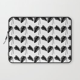 Tropical Monstera Leaves Black on White Laptop Sleeve