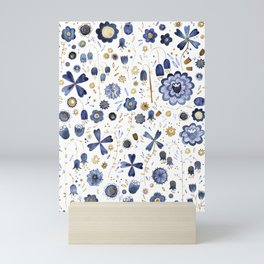 Indigo Flower Mashup Mini Art Print