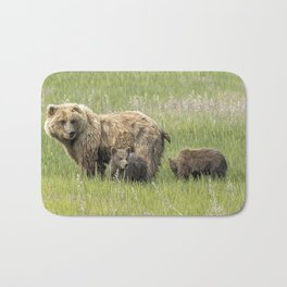 Mother Brown Bear With Her Two Cubs, No. 1 Bath Mat
