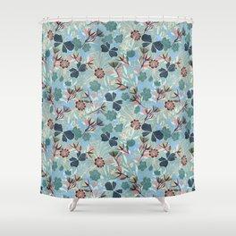 Australian Floral Summer/ teal background  Shower Curtain