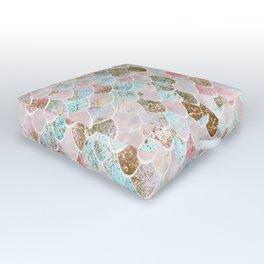 Wonky Watercolor Sea Foam Glitter Mermaid Scales Outdoor Floor Cushion