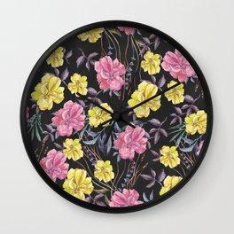 Modern botanical black pink yellow watercolor floral Wall Clock