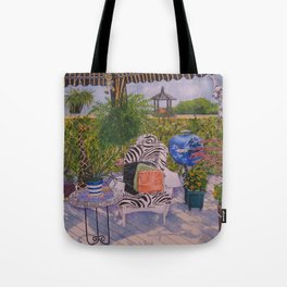Garden Deck With Blue Barbecue Tote Bag