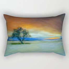 Tree in sunset, painting Rectangular Pillow