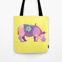 rhino Tote Bags featuring Rhino by mark ashkenazi