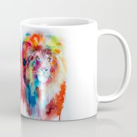 lion Mugs featuring Lion by Slaveika Aladjova