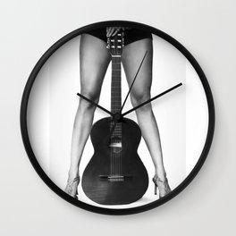 Guitar girl rocks! bw Wall Clock
