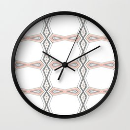 Simple Pastel Coral and Grey Diamond Geometric Wall Clock