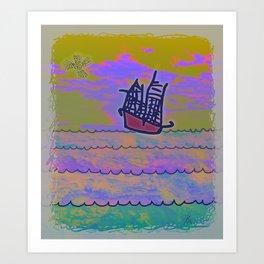Tribal Ship Following The Star Art Print
