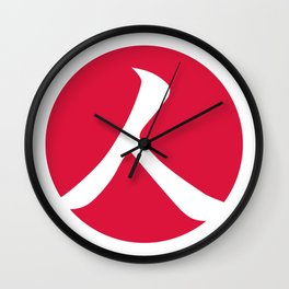 Crimson Red Person Wall Clock