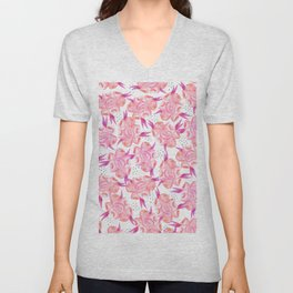 Hand painted pink coral black watercolor floral Unisex V-Neck