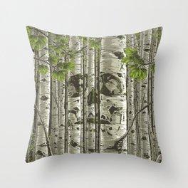 Aspens - Green Throw Pillow