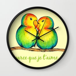 Love Birds on a Branch Wall Clock