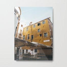 Yellow Rustic Venice Building | Streets of Venice | Italy travel photography prints, Saige Ashton Prints Metal Print