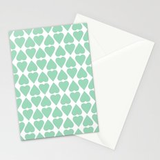 Diamond Hearts Repeat Mint Stationery Cards