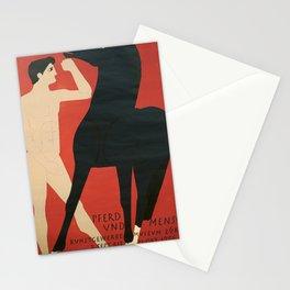 ancienne pferd und mensch cheval Stationery Cards