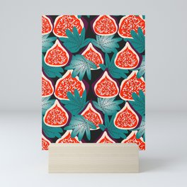 Colorful figs and leaves Mini Art Print