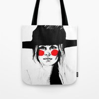 clown Tote Bags featuring Clown by Guinevere Maerckx