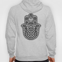 Black and White Hamsa Hand Hoody
