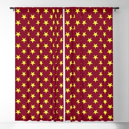 Electric Yellow on Burgundy Red Stars Blackout Curtain