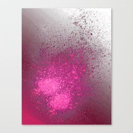 Pink and Grey Spray Paint Splatter Canvas Print