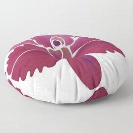 Orchid Flower Batik Painting Floor Pillow