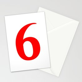 6 (RED & WHITE NUMBERS) Stationery Cards