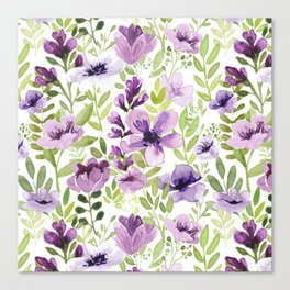 Watercolor/Ink Purple Floral Painting Canvas Print