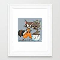 rocket raccoon Framed Art Prints featuring Rocket Raccoon & Baby Groot by Whimsette
